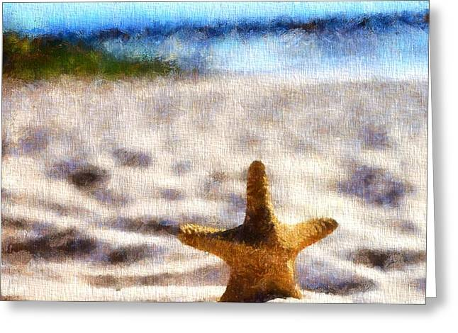 Starfish In The Sand Greeting Card by Dan Sproul