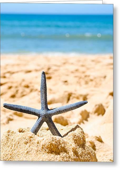 Starfish On Algarve Beach Portugal Greeting Card by Amanda Elwell