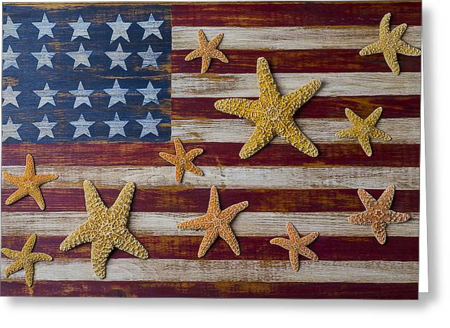 Starfish On American Flag Greeting Card