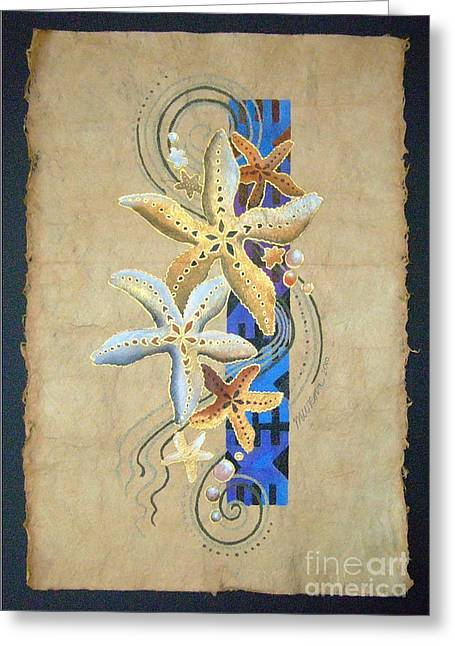 Starfish On Blue Masi Greeting Card