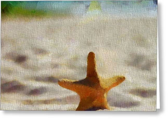 Starfish On Canvas Greeting Card by Dan Sproul