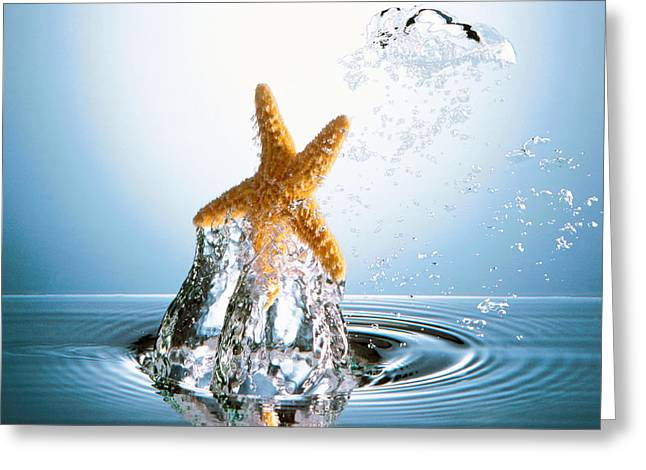 Starfish Rising On Water Bubble Greeting Card