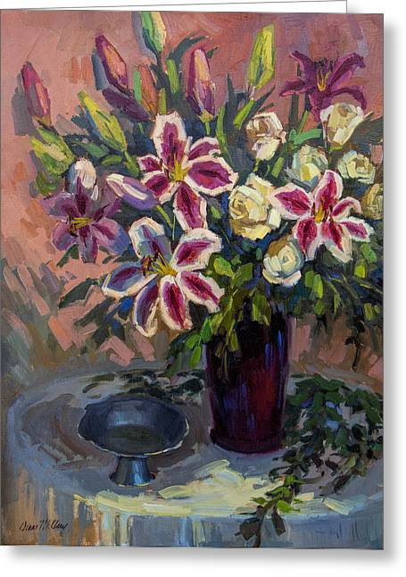 Compote Greeting Cards - Stargazer Lilies Greeting Card by Diane McClary