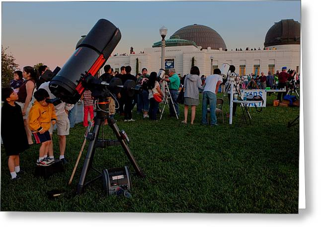 Stargazers At Dusk - Griffith Observatory Los Angeles California Greeting Card
