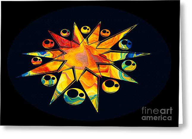 Staring Into Eternity Abstract Stars And Circles Greeting Card by Omaste Witkowski