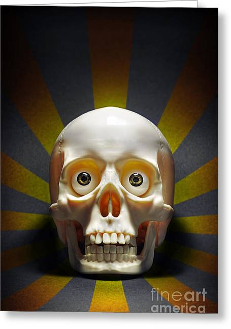 Staring Skull Greeting Card by Carlos Caetano