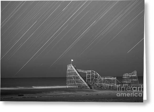 Starjet Roller Coaster Startrails Bw Greeting Card by Michael Ver Sprill