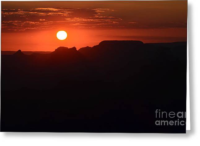 Stark Orange Sunset Twilight Over Silhouetted Spires In Grand Canyon National Park Greeting Card by Shawn O'Brien