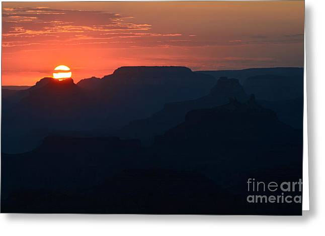 Stark Setting Sun Twilight Over Silhouetted Spires In Grand Canyon National Park Greeting Card by Shawn O'Brien