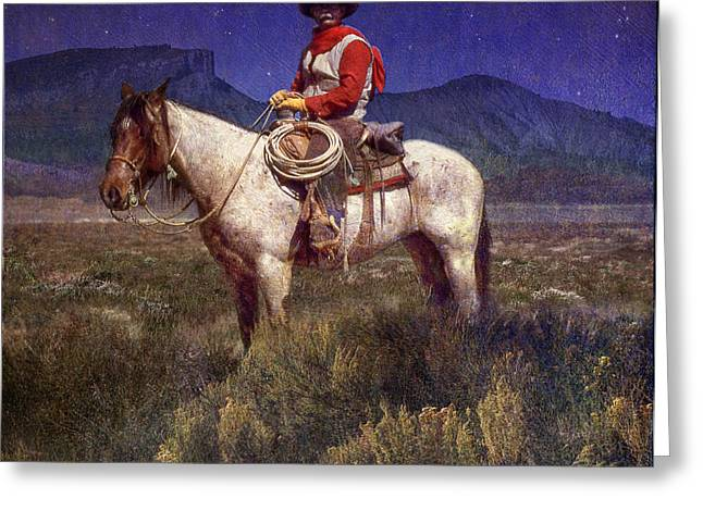 Starlight Cowboy Durango Greeting Card by R christopher Vest