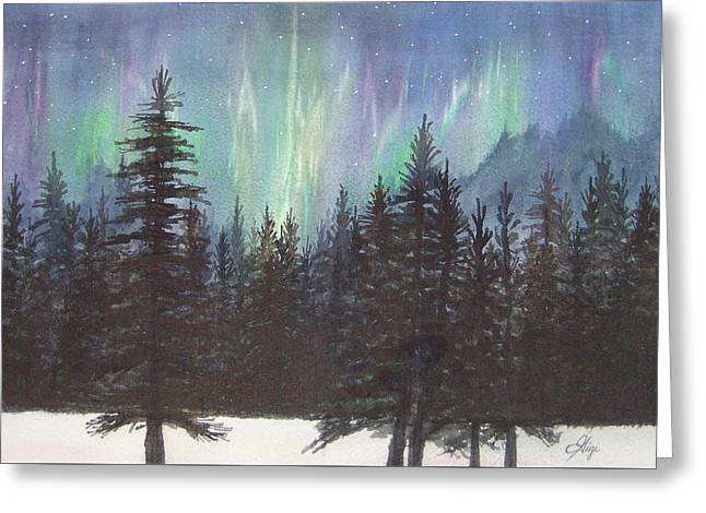Greeting Card featuring the painting Starlight Dance by Gigi Dequanne