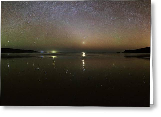 Starlight Reflected In A Bay At Night Greeting Card by Laurent Laveder