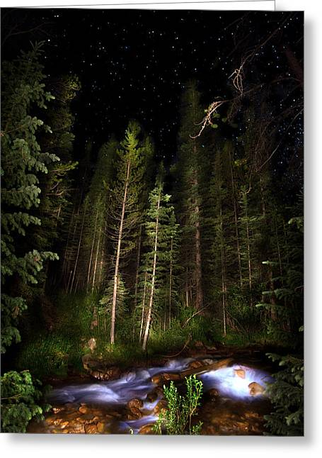 Starry Creek Greeting Card by Mark Andrew Thomas