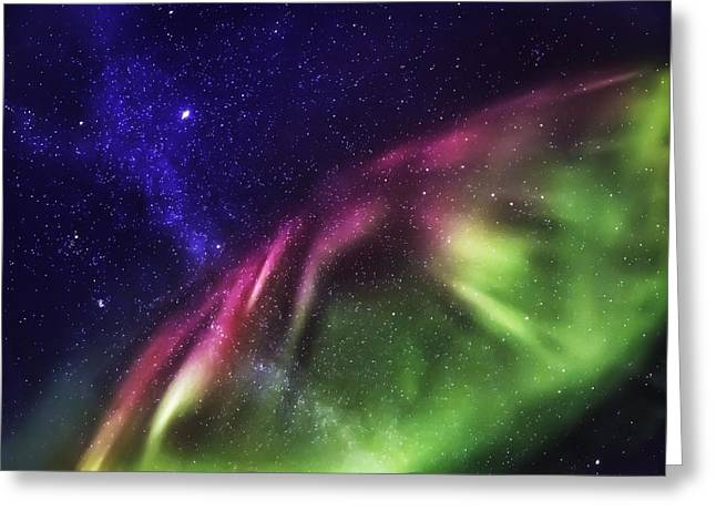Starry Evening With The Aurora Borealis Greeting Card by Panoramic Images