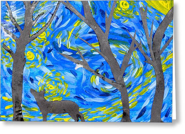 Starry Forest Greeting Card by Amanda Elwell