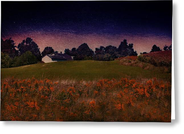 Starry Indigo Blue Twilight In The Country  Greeting Card