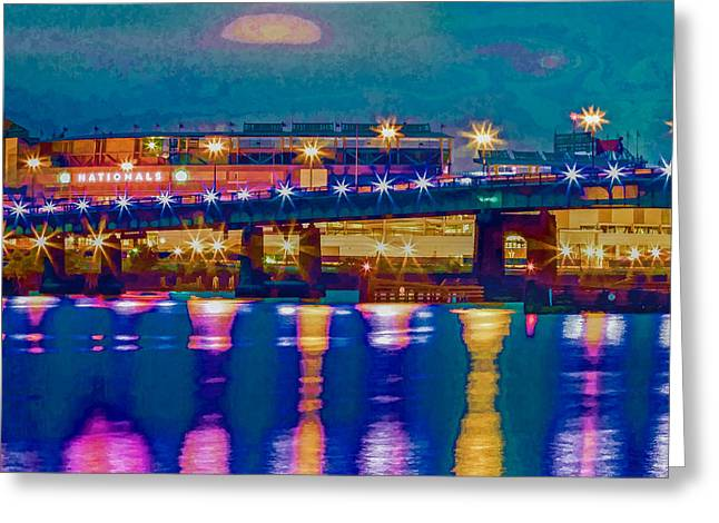 Starry Night At Nationals Park Greeting Card by Jerry Gammon