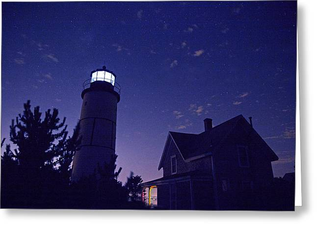 Starry Night At Sandy Neck Lighthouse Greeting Card by Charles Harden