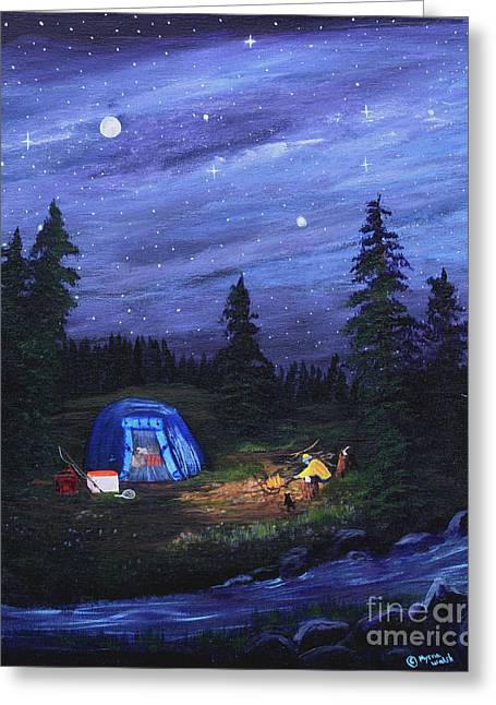 Starry Night Campers Delight Greeting Card