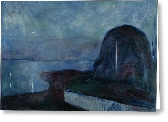 Starry Night Edvard Munch, Norwegian Greeting Card by Litz Collection