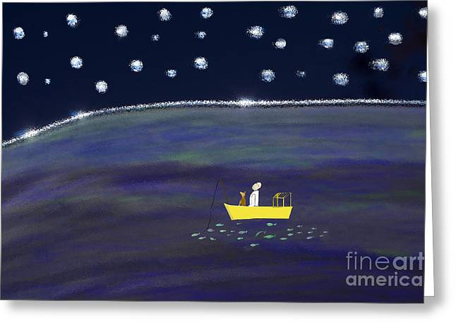 Greeting Card featuring the digital art Starry Night Fishing by Haleh Mahbod