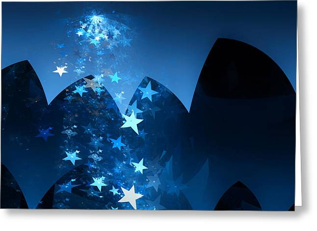Greeting Card featuring the digital art Starry Night by GJ Blackman