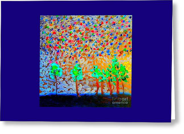 Greeting Card featuring the painting Starry Night In Deer Valley Utah 2 by Richard W Linford