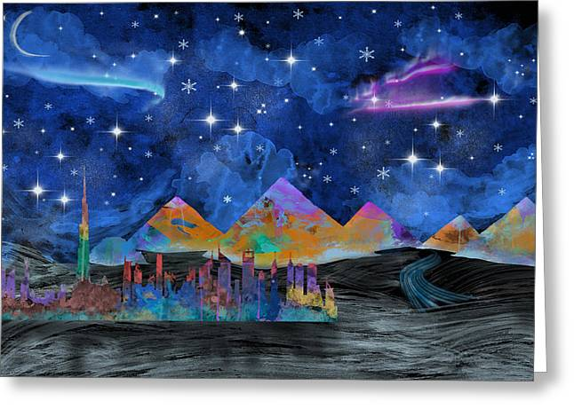 Starry Night In Dubai Greeting Card by Becca Buecher