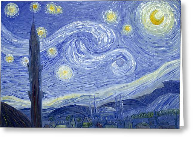 Starry Night In Istanbul Greeting Card