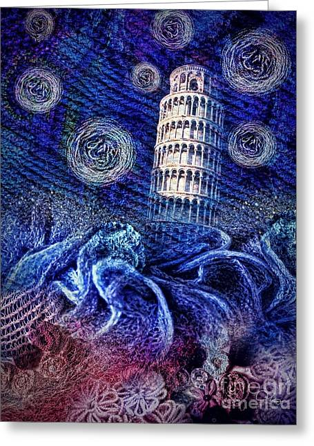 Starry Night In Pisa Greeting Card by Mo T