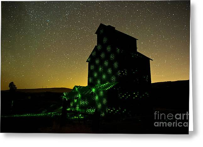 Starry Night Light Painting. Greeting Card by Jackie Follett