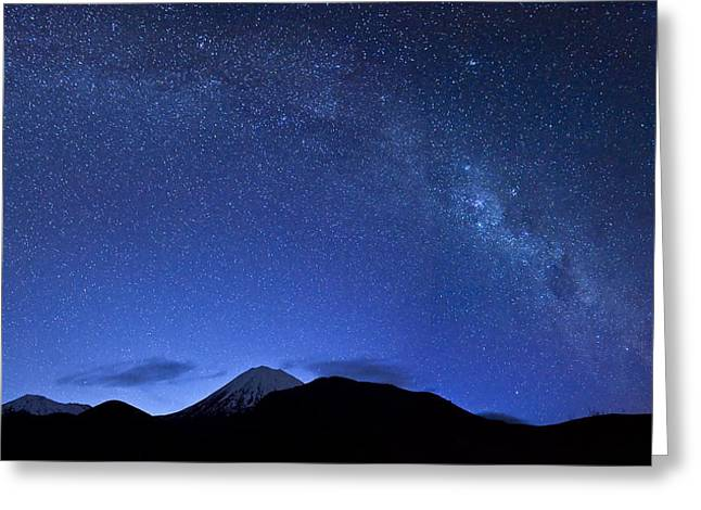 Starry Night Over Mount Ngauruhoe Greeting Card