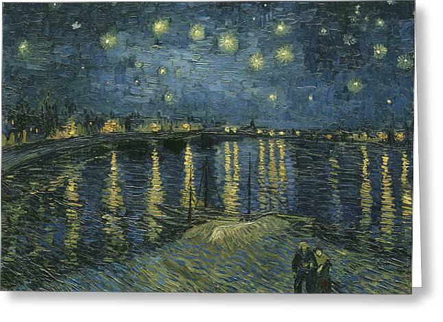 Starry Night Over The Rhone Greeting Card by Georgia Fowler