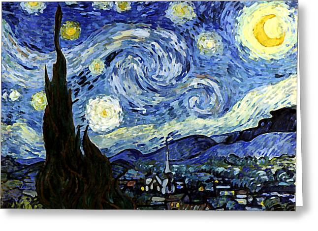 Starry Night Reproduction Art Work Greeting Card by Vincent van Gogh