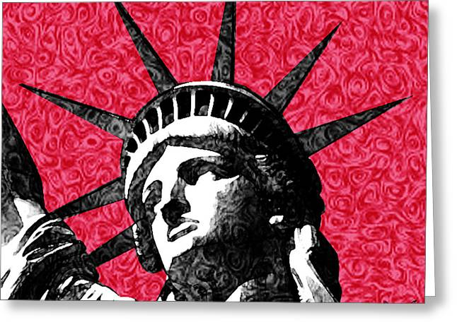 Starry Night Statue Of Liberty Print Greeting Card