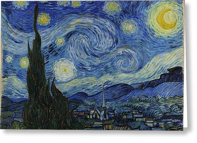 Starry Night Greeting Card by Masterpieces Of Art Gallery