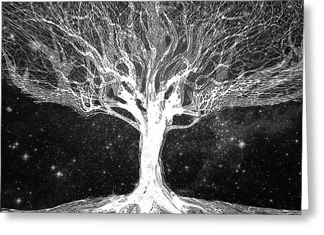Starry Night Tree Of Life Greeting Card