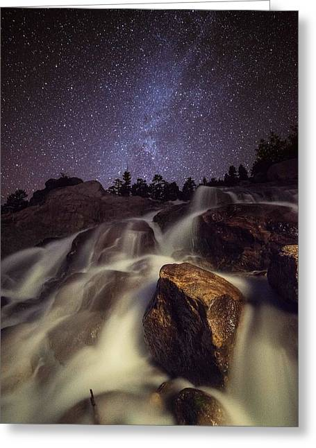 Starry Night Waterfalls In Rocky Mountain National Park Greeting Card by Mike Berenson