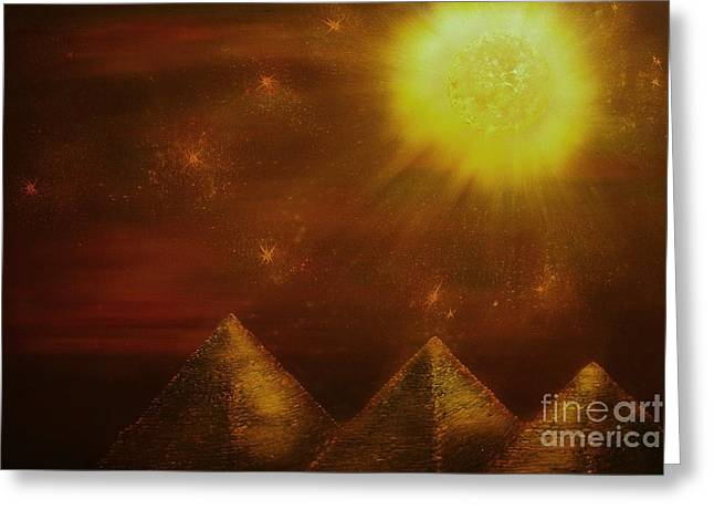 Starry Pyramid Night-original Sold-buy Giclee Print Nr 34 Of Limited Edition Of 40 Prints  Greeting Card