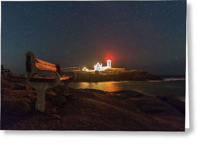 Starry Skies Over Nubble Lighthouse  Greeting Card