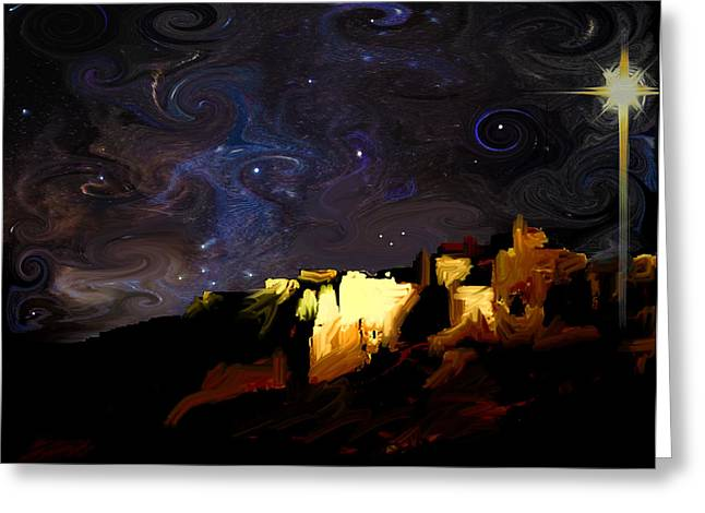 Starry Starry Bethlehem Night Greeting Card by Ron Cantrell