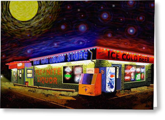 Starry Starry Fly By Nite Drive Thru Liquor Store Greeting Card by Robert FERD Frank