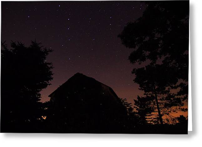 Stars And Lightning Bugs On The Farm Greeting Card by Dan Sproul