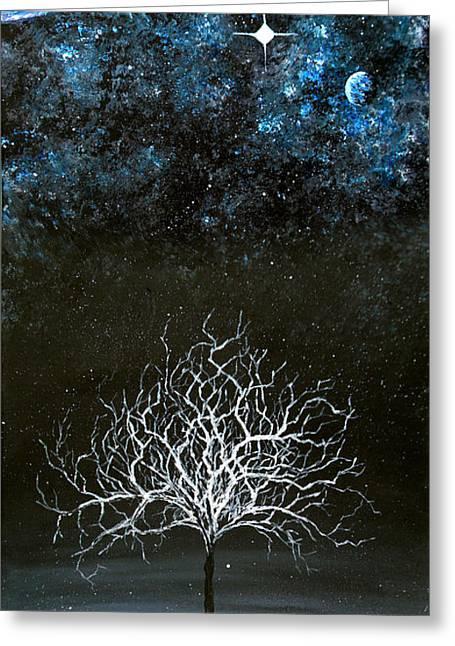 Stars And Snow Greeting Card by Sabrina Zbasnik