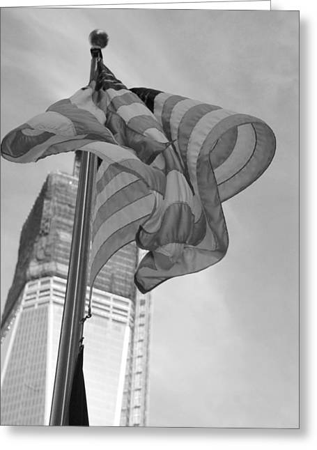 Stars And Stripes And 1 W T C In Black And White Greeting Card