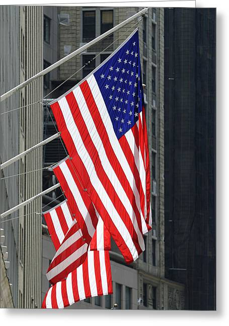 Stars And Stripes Flags Greeting Card by Norman Pogson