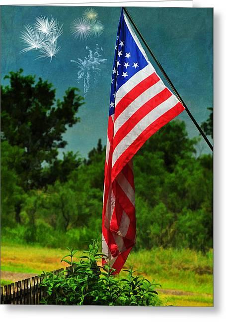 Stars And Stripes Forever Greeting Card by Karen Slagle