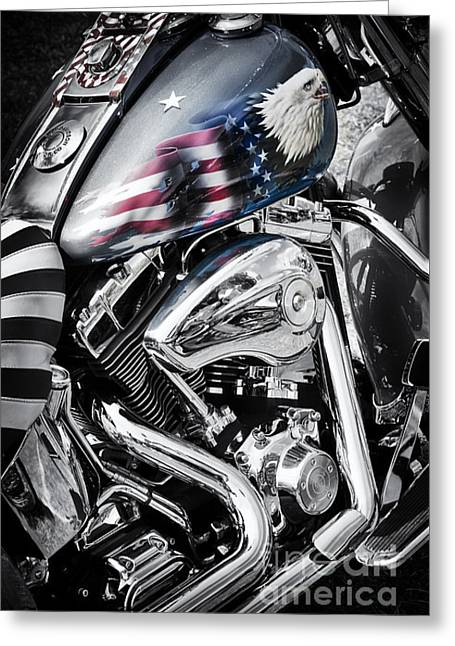 Stars And Stripes Harley  Greeting Card