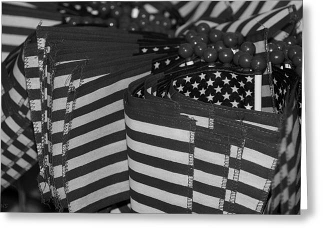 Stars And Stripes In Black And White Greeting Card by Rob Hans