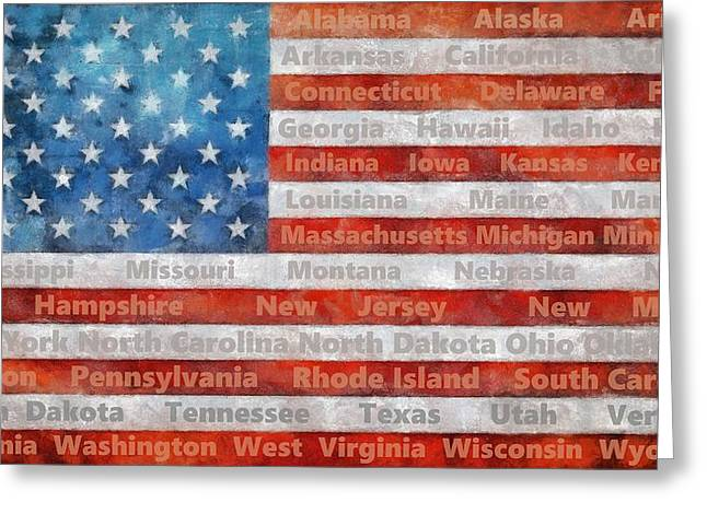 Stars And Stripes With States Greeting Card by Michelle Calkins